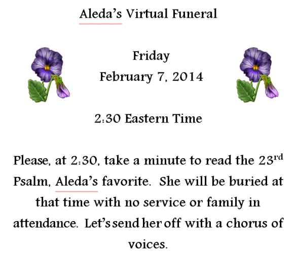 Aleda's Virtual Funeral