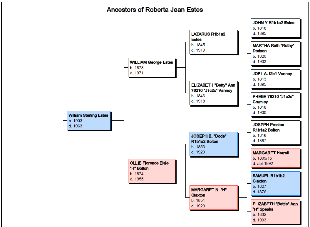 family tree with relation labels