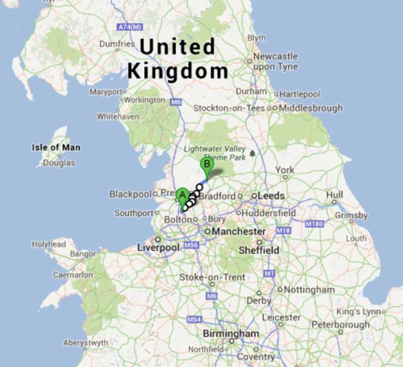 Chorley Gisburn map