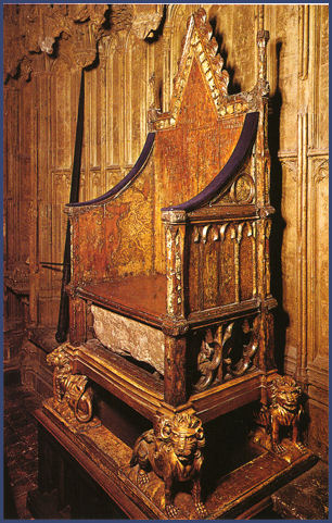 coronation chair with stone