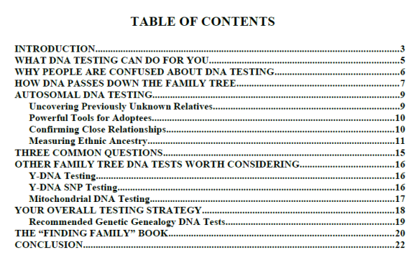 guide to dna testing toc