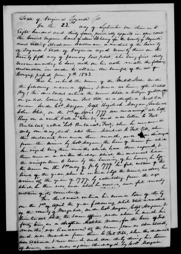 Abraham Workman Pension app 1834 Tazewell Co Va