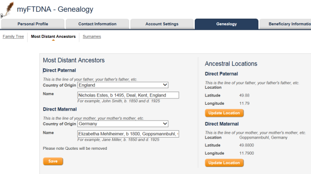 genealogy tab