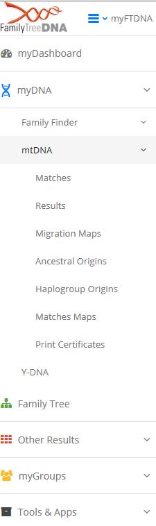 haplogroup and ancestral orgins tab
