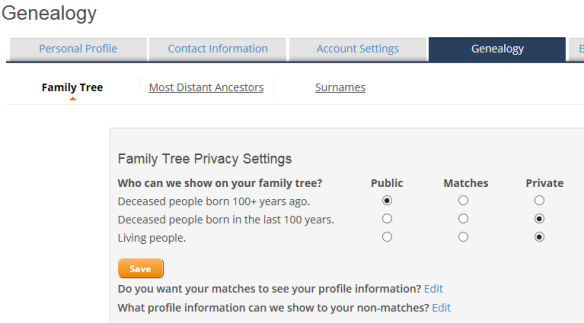 privacy and sharing genealogy tab