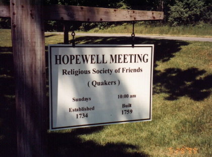 Hopewell Meeting Sign