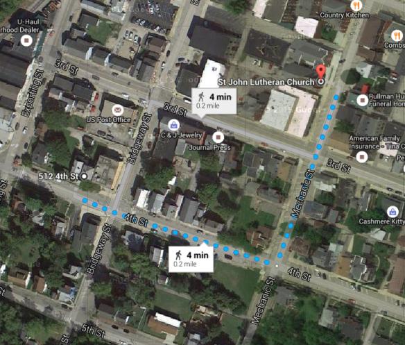 Drechsel to church map