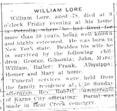 William lore obit