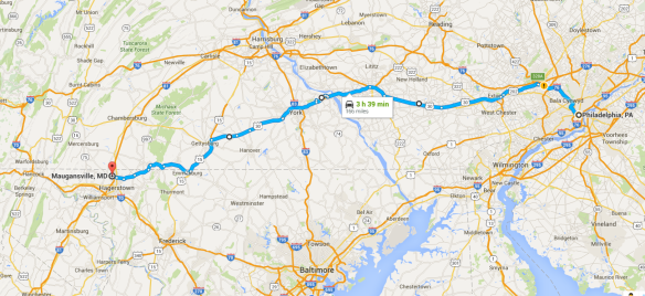 Map Frederick co to Philly