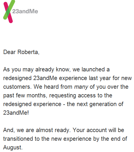 23andMe Transition