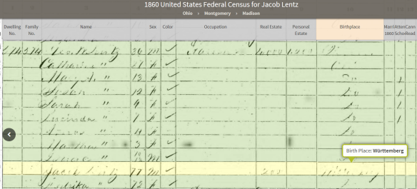 Lentz Jacob 1860 census