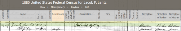 Lentz, Jacob 1880 census