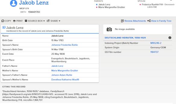 Lentz Jacob marriage Family Search