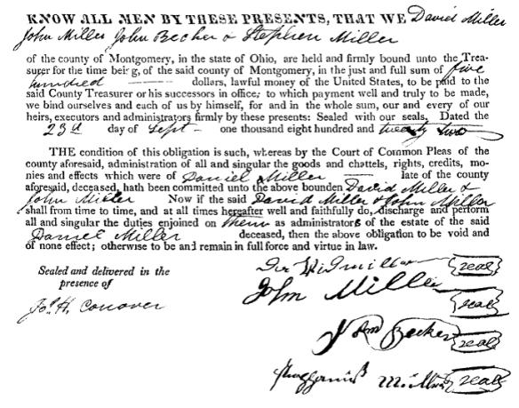 David Miller 1822 signature