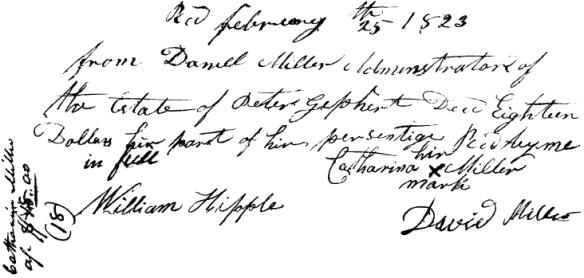 David Miller 1823 receipt