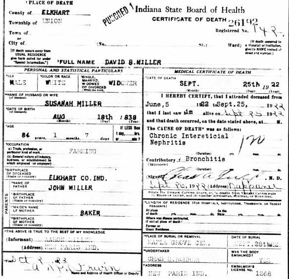 JDM David B Miller death cert