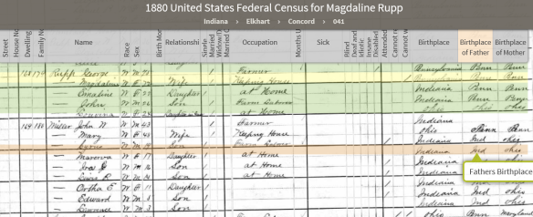 Philip Jacob Miller Bible 1880 census