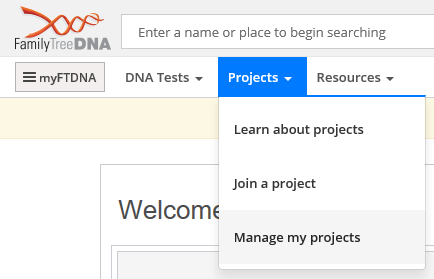 Quick tip how to unjoin a project at family tree dna removing yourself from a family tree dna project is easy just click on the projects tab at the top right of your personal page then on manage my solutioingenieria Image collections